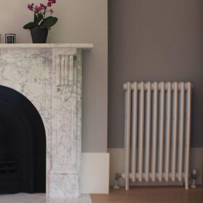 Ancona Tubular Hydronic Radiator Designer Panel With Fire Place
